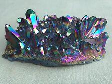 Titanium Rainbow Aura Blue Flame Crystal Quartz Cluster Druzy Gemstone Specimen.