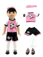 "Pink Soccer Outfit Shoes Fits Wellie Wishers 14.5"" American Girl Clothes"