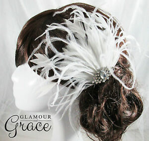 Harmony Vintage wedding Gatsby white feather fascinator headpiece RRP $80