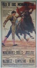 """""""PLAZA DE TOROS MONUMENTAL 1986"""" Affiche originale entoilée BALLESTAR 58x100cm"""