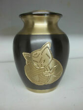 """Slate w/Gold Cat w/Yarn Ball Solid Brass Pet Urn~6""""~holds up to 40Lbs~Imperfect"""