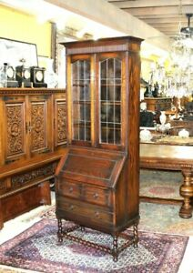 English Antique Oak Jacobean Barley Twist Leaded Glass Secretary Desk / Bookcase