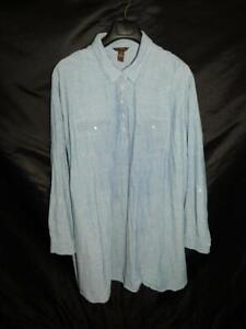 Bit & Bridle 3X Blue Tunic Shirt Dress Cotton Long Sleeves Roll Up Cuffs Woman