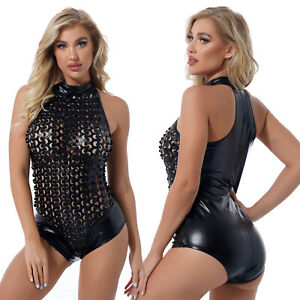 Women Shiny Hollow Out Patent Leather Bodysuit Mock Neck Leotard Dancing Costume