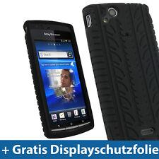Schwarz Silikon Tasche für Sony Ericsson Xperia Arc S Android Skin Hülle
