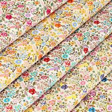 Cotton Poplin Fabric FQ - Retro Print Wild Flowers Daisy Ditsy Floral Dress VS16