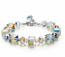 "Beautiful Aurora Austria Crystals Bracelet 925 Silver Wedding Adjustable 7""-9"""