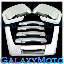 Triple Chrome Mirror+4 Door Handle+Tailgate Cover for 05-12 Nissan Frontier Set