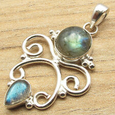 Blue Fire Stones, Shine From Every Angle ! 925 Silver Plated LABRADORITE Pendant