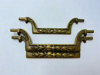 Antique fancy pattern Bail handle pull Brass Salvage ornate 8 Matching 2 sizes