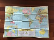 VTG 1960 LITHOGRAPH MAP OF THE UNIVERSAL WORLD BOOK BY ENTERPRISES INC