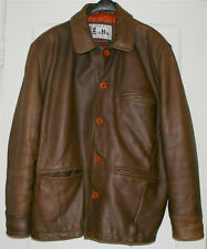 EXCELLED brown genuine leather Jacket Coat Men's L Clean! Excellent