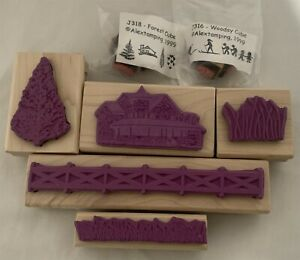 Alextamping LANDSCAPE Fence Trees Nature Wood Rubber Stamps Lot of 7