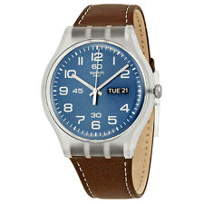 Swatch Originals Daily Friend Blue Dial Brown Leather Unisex Watch SUOK701