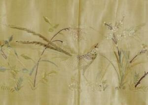 Beautiful Long Panel 19th C Hand Embroidered Chinese Silk With Bird & Flowers