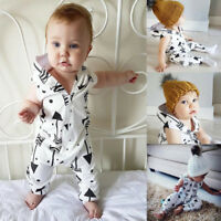 Toddler Kid Baby Boy Sleeveless Hooded Romper Jumpsuit Outfits Casual Set