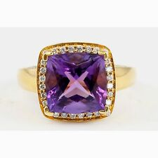 18k Yellow Gold Cushion Square Purple Amethyst Round Diamond Halo Ring Size 5.25