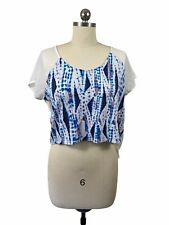 Kirra Blouse Top XS White Sheer Pink Abstract Tie Dye Open Back Short Sleeve