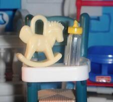 Fisher Price Loving Family Dollhouse Green High Chair Yellow Feeding Set Lot