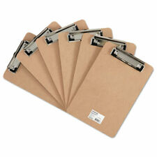 Hardboard Clipboard With Low Profile Clip 12 Capacity 6 X 9 Brown 6pk