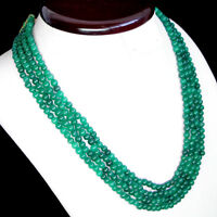 TOP QUALITY RARE 399.00 CTS NATURAL 4 STRAND GREEN EMERALD ROUND BEADS NECKLACE