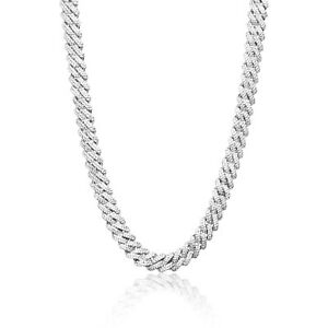Iced Cuban Out Prong Chain VVS Diamond Necklace 12mm 925 Sterling Silver Rapper