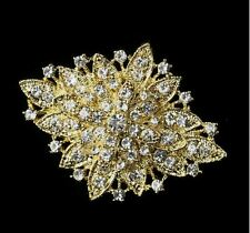 "GOLD TONE 2.5"" VINTAGE LOOK DIAMANTE RHINESTONE CRYSTAL WEDDING BROOCH PIN"