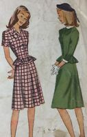1940's Simplicity VTG Sewing Two-piece Dress Pattern 1400 Bust 30