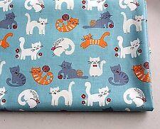 El aclaramiento gatos azules 100% Algodón Tela Remanente De 56cm X 48cm Gato Quilting recortes de T