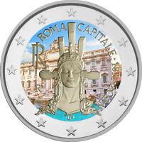 2 Euro Gedenkmünze Italien 2021 coloriert  mit Farbe / Farbmünze Rom / Roma 1