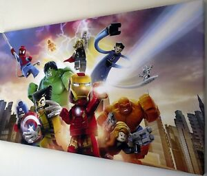 LEGO MARVEL AVENGERS CANVAS PRINT WALL ART PICTURE  18 x 32 INCH
