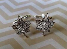 D004 Vintage Style Canadian Maple Leaf Cuff Links Halloween Birthday Christmas*