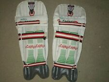 "HUNT COUNTY CRICKET PADS BATTING WHITE GRAY GREEN USED ADULT 26"" LONG"