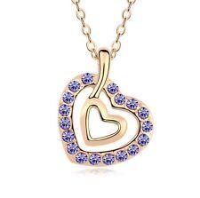 18K Gold GP SWAROVSKI Element Crystal Double Heart Pendant Necklace Purple