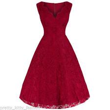 Vestiti da donna anni'50, rockabilly rossi in cotone