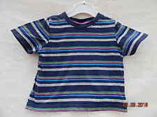 CHEROKEE BABY BOYS CUTE BLUE MULTI STRIPED TOP SZ 12-18 MONTHS 100% COTTON
