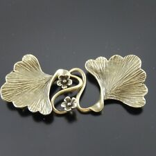 6X Vintage Style Bronze Tone Brass Leaf Charm Clasp Jewelry Findings 29*26*1mm