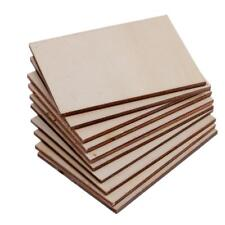 10pcs Rectangle Shape Craft Blank Wood Plaque Sign Pyrography DIY Materials