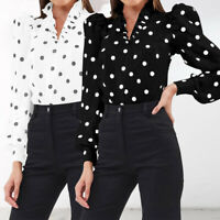 UK Women Polka Dot Ruffle Neck Long Puff Sleeve Top Blouse Tee T Shirt Size 8-26