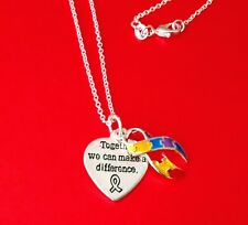 Autism Aspergers Awareness Heart puzzle piece charm necklace Christmas Gift