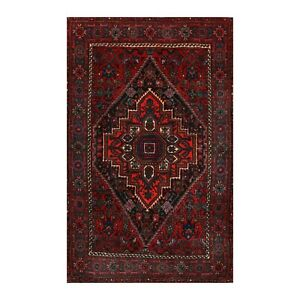 2'7''x4'1'' Hand Knotted Wool Tribal Traditional 200 KPSI Plus Pile Area Rug Red