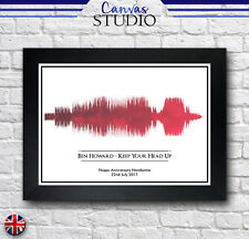 A4 Personalised Heart Red Music Soundwave Song Framed Print Picture Wedding Gift