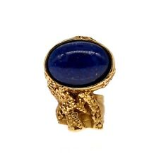 Saint Laurent YSL Arty Ovale Ring Tin Old Gold Blue Glass Size 6 NWT