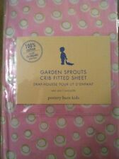 Pottery Barn Kids GARDEN SPROUTS Fitted CRIB SHEET Girls NEW Pink Green Dots