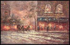 "Old Street Scene, 36""x24"" Oil Painting on Canvas"