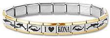 I Heart Kona Italian Charm Dolphin Bracelet Gold Trim Stainless Steel 9 mm Links