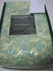 New LAURA ASHLEY DEANNA FLORAL  Quilt STANDARD PILLOW SHAM ~ Yellow GREEN Flower