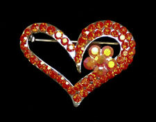 RED HEART w FLOWER CRYSTAL JEWELRY PIN - VALENTINES DAY