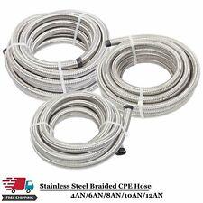 4AN/6AN/8AN/10AN/12AN Fuel/Oil/Gas Hose Line Stainless Steel Braided Silver -AN