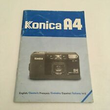 VINTAGE INSTRUCTIONS MANUAL FOR KONICA A4 CAMERA IN SIX LANGUAGES